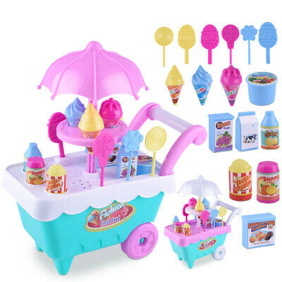 Children Role Play Toys Mini Candy Cart Detachable Ice Cream Shop Cart Toy Safe