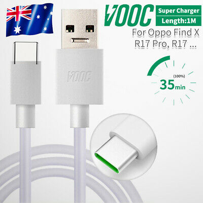 Genuine 4A OPPO VOOC Type C USB Fast Charger Cable Fr R17 R19 Pro Reno Find X AU