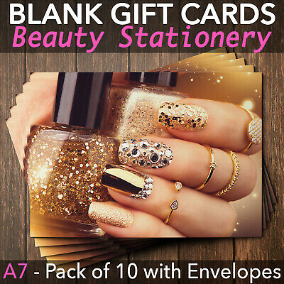 Gift Voucher Card Beauty Manicure Pedicure Nails Therapy Treatment - x10 +Env.