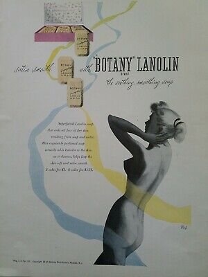 1947 botany lanolin soap nude woman silhouette art vintage ad
