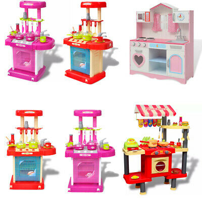 Kids Toy Kitchen Playroom Large Children Wooden Cooker Girls Boys Play Set Funny