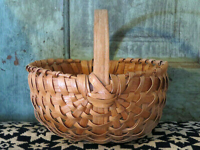 Primitive Spilt Oak Woven Buttocks Bentwood Egg Gathering Basket Signed Davis MO
