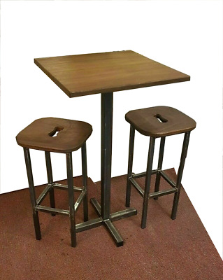 New Industrial Style Poseur Table Stool Set Bar Bistro Pub Restaurant