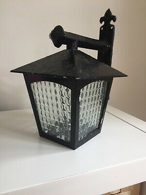 Vintage Wrought Iron Exterior Porch Light Lantern Outdoor Mid Century Black