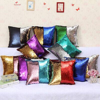 "Sequin Cushion Cover Throw Pillow Cover Color Changing Home Bed Sofa Pad 18""*18"""