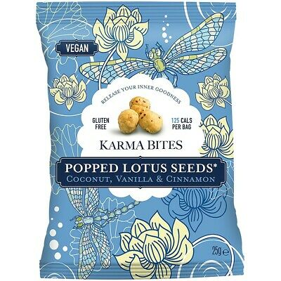Karma Bites Popped Lotus Seeds - Coconut & Vanilla 25g (Pack of 12)