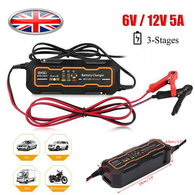 12V Car Trickle RV Motorcycle 3 Step Automatic Smart Battery Charger 5A