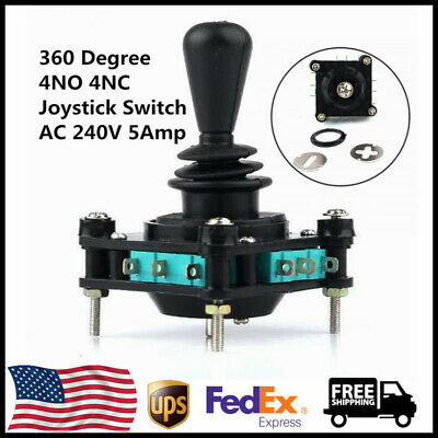 Momentary Black 360 Degree 4NO 4NC Arcade Joystick Switch AC 240V 5Amp 2mm Dia