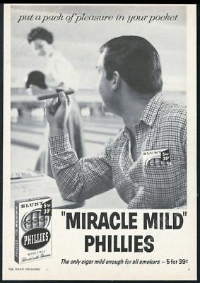 1959 Phillies Blunt cigar bowling alley couple photo vintage print ad