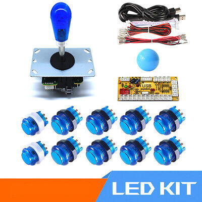 Arcade LED Buttons and Joystick Kit Controller Zero Delay USB Encoder MAME JAMMA