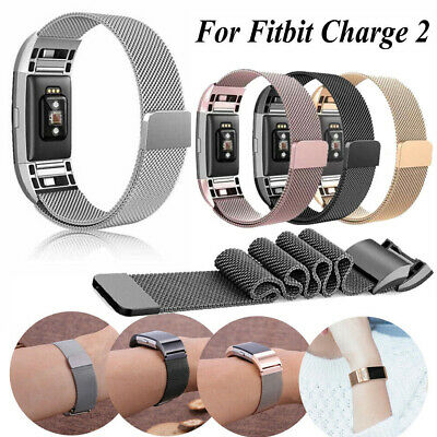 For Fitbit Charge 2 Milanese Stainless Steel Metal band Wrist Strap Replacement