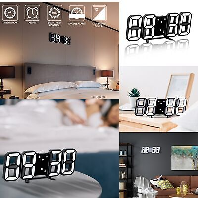 3D LED Digital Clock Wall Clock Electronic Alarm Display Temperature Modern USB