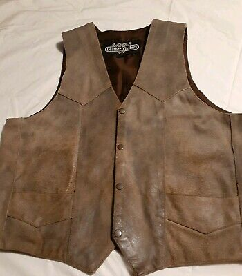 Leather Gallery Mens Leather Suede Vest Size 44 Steampunk Motorcycle Worn Look