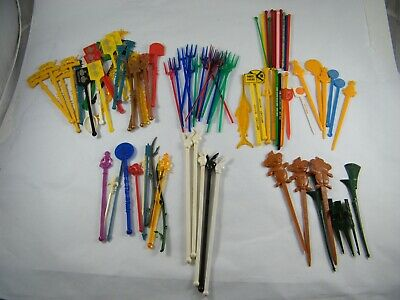 Lot Of 94 Swizzle / Stir Sticks ~ Trader Vic's, Playboy, Airlines, Hotels