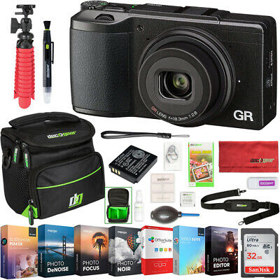 Ricoh GR II 16.2MP APS-C Digital Camera Wi-Fi 1080p Video + Deco Gear Case Kit