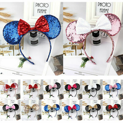 Adults Girls Children Mickey Minnie Mouse Ears headband Party Costume Hair Band