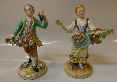 "Antique 19th Century Pr. Of 8"" Dresden Multi-Color Porcelain Colonial Figurines"