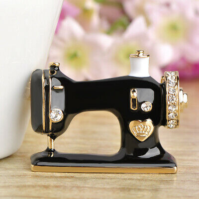 Black Enamel Sewing Machine Brooches Gold Plated Brooch Pin Lady Party Gift