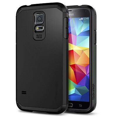 For Samsung Galaxy S5 Stealth Black Tough Armour Shockproof Phone Cover Case