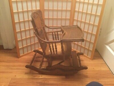 Antique Child's High Chair / Rocker Cane Seat Vintage 1890-1910
