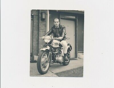 London 1964 Anonymous Man Leather Jacket on Triumph Motorcycle