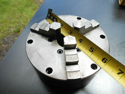 """1950s ~ 6"""" Lathe Chuck with 3 Reversible Hard/Smooth Jaws ~ No. 3634/Workholding"""