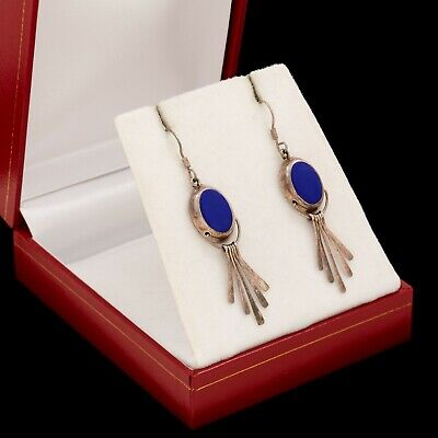 "Vintage Sterling Silver Mexico TAXCO Native Style Lapis Lazuli 2.07"" L Earrings"