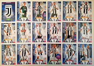 Match Attax Uefa Champions League 2018/19 Full Set Of All 18 Juventus Cards