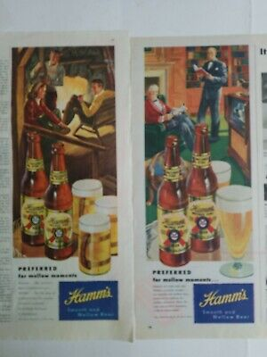 1948 lot 2 Hamm's beer brown bottle mugs glass Mellow Moments vintage ads As is