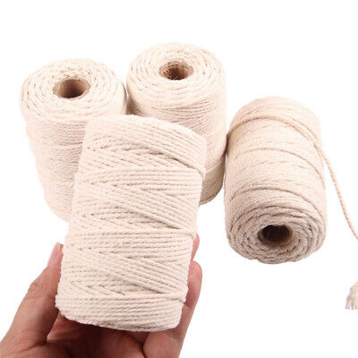 1 Roll 100/200M Long Beige Cotton Twisted Cord Rope DIY Macrame Artisan String