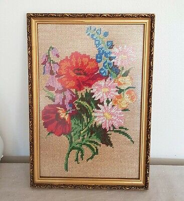 Vintage Needlepoint Flowers - Framed - Handcrafted - Nice Bright Colours!