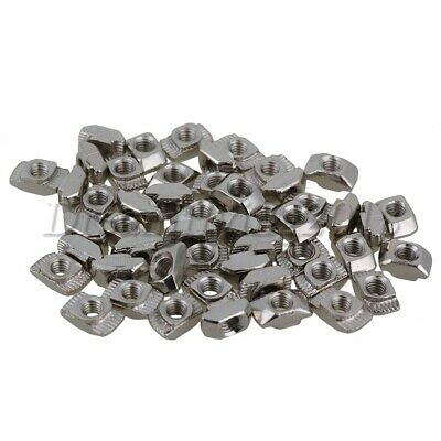 50x M4 Thread T-Nut Hammer Head for 20 Series Alum Profile Extrusion Slot Silver