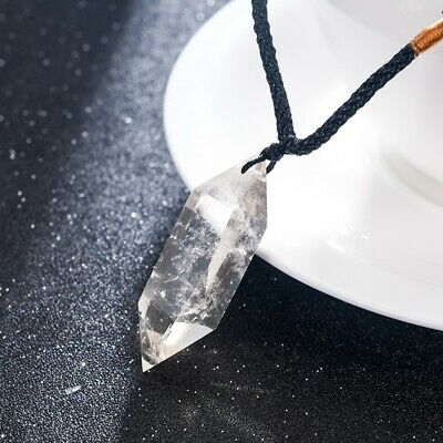 Natural Clear Quartz Crystal Pendant Necklace Wand Point Chakra Healing Stone