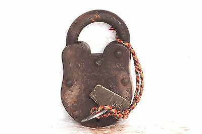 Iron Lock and New Key Old Vintage Antique Brass Rare Collectible S-31