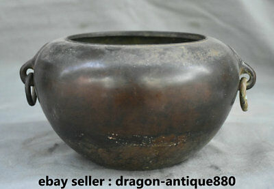 """8.4"""" Marked Old Chinese Bronze Dynasty Palace Ring Handle Pot Jar Crock Censer"""