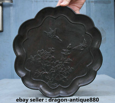 "11.2"" Old Chinese Wood Carving Dynasty Palace Flower Butterfly Plate Dish Tray"