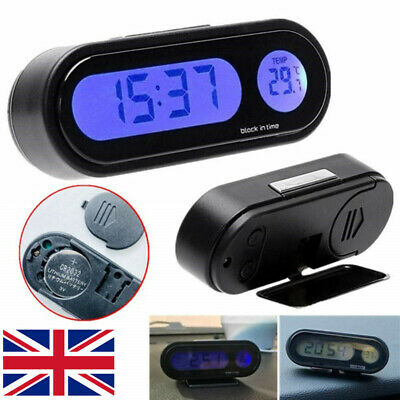 12V LCD Car Auto Digital LED Electronic Time Clock Thermometer with Backlight UK