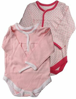 Ex Store 2 Pack of Baby Girl Long Sleeved Bodysuits 0-3 Months Pink