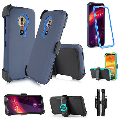 For Motorola Moto G7 Power /G7 Supra Hybrid Armor Kickstand Belt Clip Case Cover