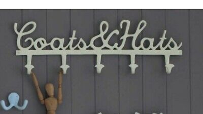 BOMBAY DUCK Cream Coats & Hats Lettering Hooks Shabby Chic Vintage Cottage