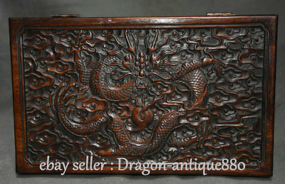 """12"""" Old Chinese Huanghuali Wood Dynasty Dragon Jewelry Box Jewel Case Container"""