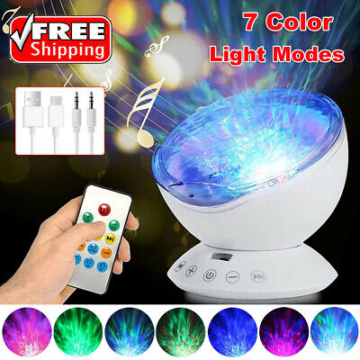 Relaxing Ocean Wave Music LED Night Light Projector Lamp Remote Baby Sleep Gift