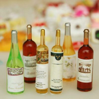 6Pcs Colorful Wine Bottles Miniature For 1:12 Dollhouse Decor Kitchen Y7P3