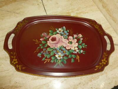 """Vintage Hand Painted Flowers Toleware Serving Tray Red Metal Cottage 19""""x11"""""""