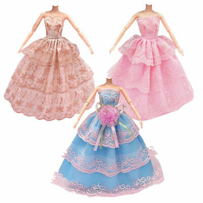 3Pcs Fashion Handmade Dolls Clothes Wedding Grow Party Dresses For Dolls B2A6