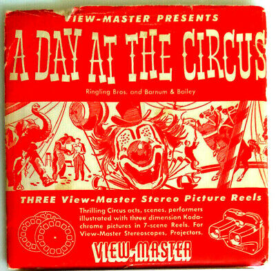 3x VIEW MASTER REEL / A DAY AT THE CIRCUS / ZIRKUS / CLOWN / SCHEIBE 701 702 703
