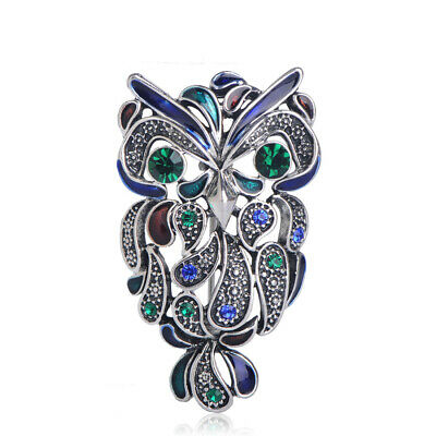 Enamel Owl Brooches Rhinestone Antique Silver Plated Brooch Pin Lady Party Gift