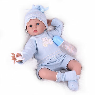 "22"" Realistic Lifelike Baby Girl Doll Silicone Vinyl Reborn Newborn Dolls+Dress"