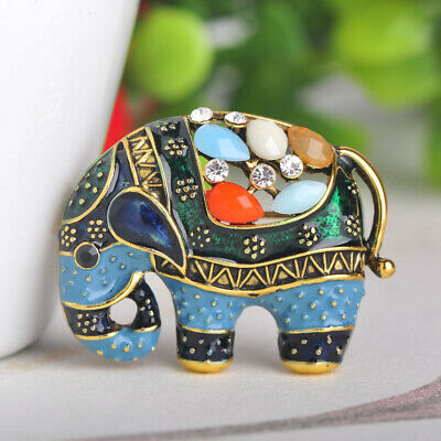 Blue Enamel Elephant Brooches Crystal Gold Plated Brooch Pin Lady Party Gift