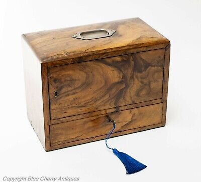Antique Gorgeous Figured Walnut Wood Cigar & Tobacco Travelling Box c1915
